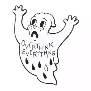🎉 Overthink Everything Ghost Brooch Pin
